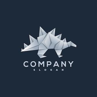 Logotipo de estilo origami de dinossauro