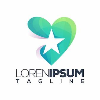 Logotipo de estrela de amor premium