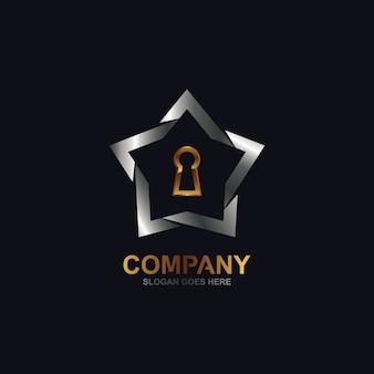 Logotipo de estrela e buraco de fechadura