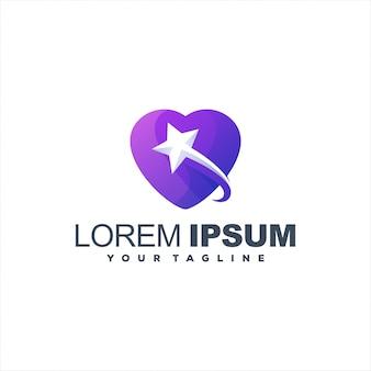 Logotipo de estrela impressionante coração