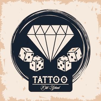 Logotipo de estúdio de tatuagem de diamante e dadinhos