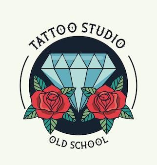 Logotipo de estúdio de tatuagem de diamante e rosas