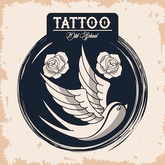 Logotipo de estúdio de tatuagem de pássaro e rosas