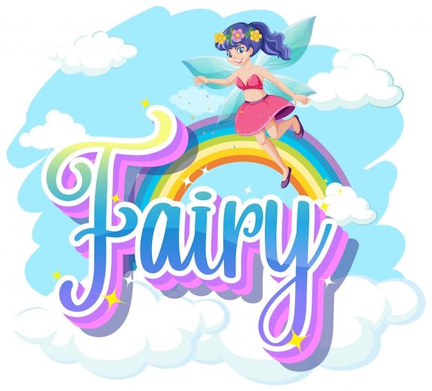 Logotipo de fadas com pequenas fadas no fundo do céu arco-íris