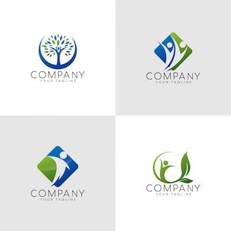 Logotipo de família feliz seguro