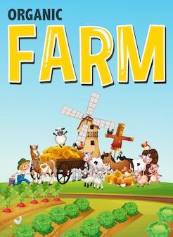 Logotipo de fazenda orgânica com fazenda de animais no fundo da fazenda