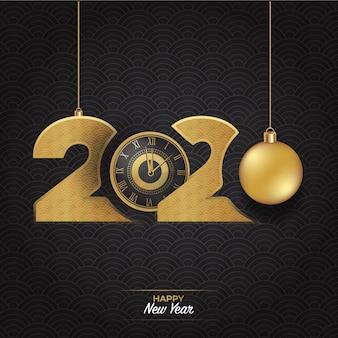 Logotipo de feliz ano novo de luxo ouro 2020