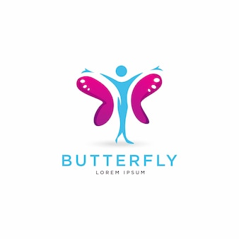 Logotipo de figura humana de borboleta