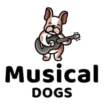 Logotipo de filhos bonitos de cães musicais