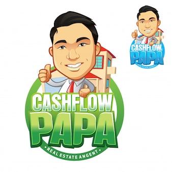 Logotipo de finanças de mascote de fluxo de caixa