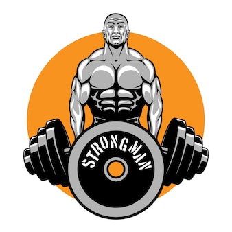 Logotipo de fisiculturistas e clube de fitness