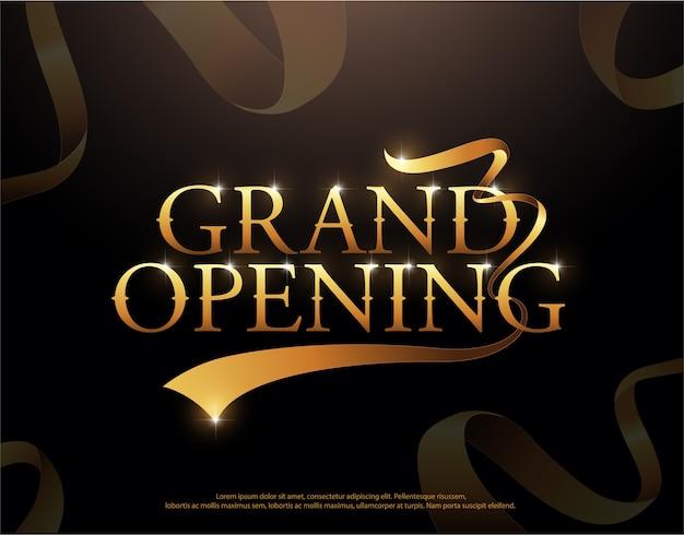 Logotipo de fitas douradas de inauguração. estilo elegante de inauguração