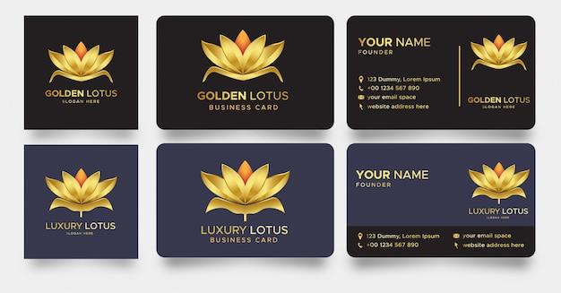 Logotipo de flor de lótus de luxo e cartão de visita