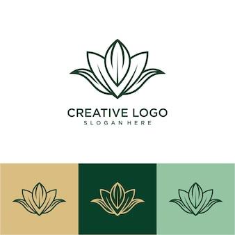Logotipo de flor de lótus em emblema de luxo