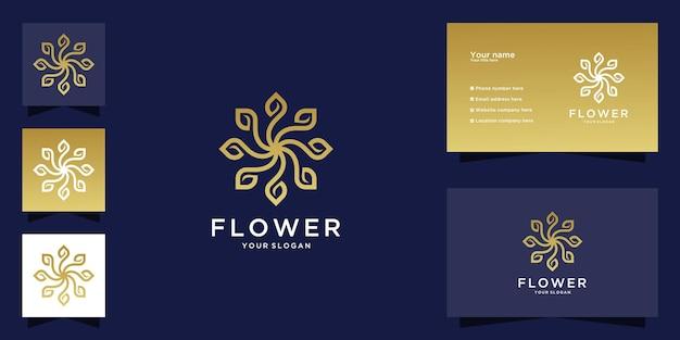 Logotipo de flor de luxo minimalista e cartão de visita