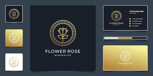 Logotipo de flor de luxo rosa com estilo de arte de linha e cartão de visita