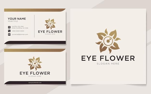 Logotipo de flor de olho de luxo e modelo de cartão de visita