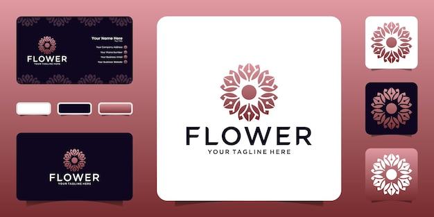 Logotipo de flor de rosa vermelha de luxo e modelo de cartão de visita