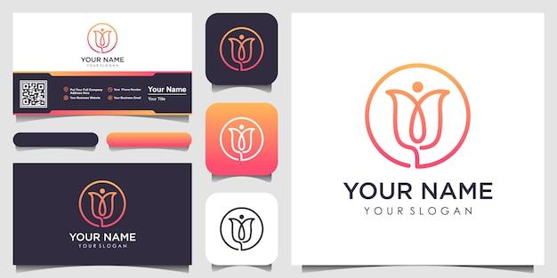 Logotipo de flor elegante e minimalista e cartão de visita