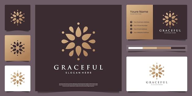 Logotipo de flor mandala dourada de luxo com cartão de visita