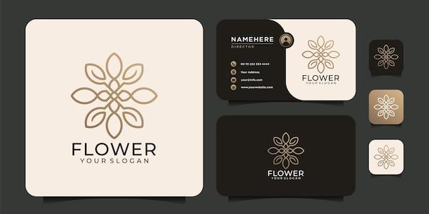 Logotipo de flor minimalista exclusivo com cartão de visita