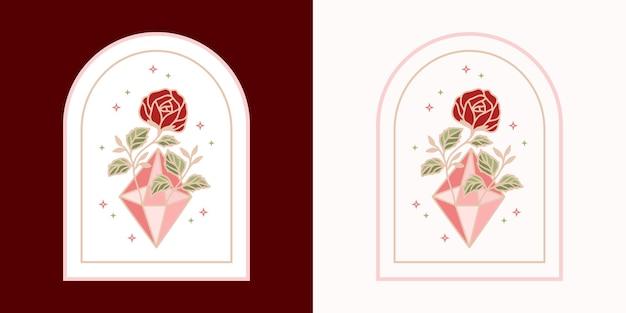 Logotipo de flor rosa botânica de diamante de cristal mágico vintage e elemento de marca de beleza feminina