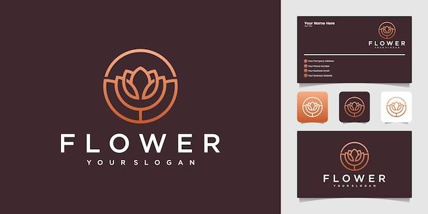 Logotipo de flor rosa com modelo de design de contorno de círculo e cartão de visita