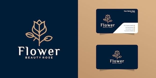 Logotipo de flor rosa com modelo de design de contorno e cartão de visita