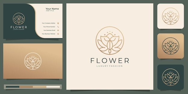 Logotipo de flor rosa de beleza feminina com estilo de arte de linha de forma de círculo. modelo de logotipo e cartão de visita.