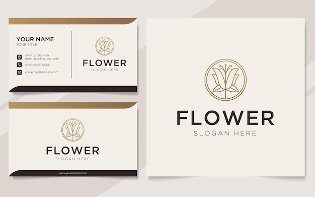 Logotipo de flores de luxo e modelo de cartão de visita