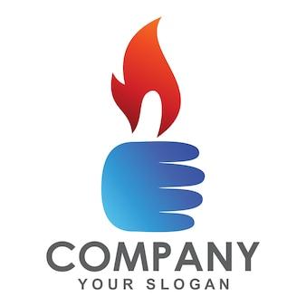 Logotipo de fogo de polegares