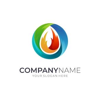 Logotipo de fogo em forma de círculo colorido