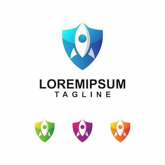Logotipo de foguete colorido com forma de escudo