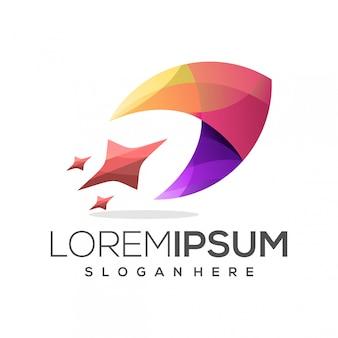 Logotipo de foguete colorido