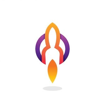 Logotipo de foguete com círculo