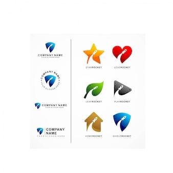 Logotipo de foguete e colocação de carta