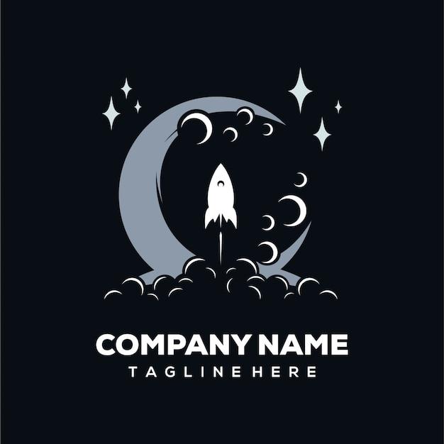 Logotipo de foguete e lua