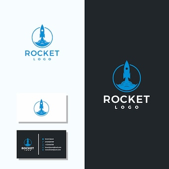 Logotipo de foguete minimalista e cartões de negócios