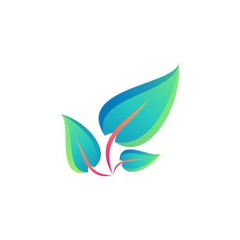 Logotipo de folha colorida impressionante