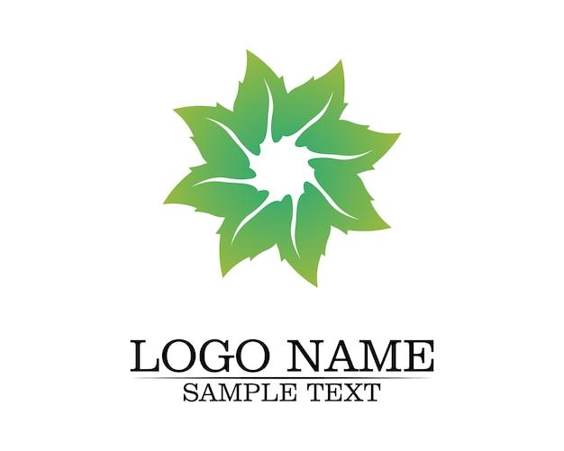 Logotipo de folha de árvore, conceito ecológico.