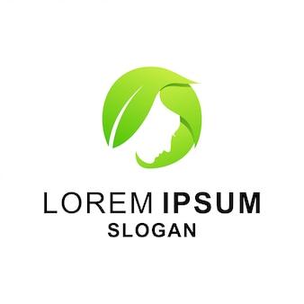 Logotipo de folha de beleza