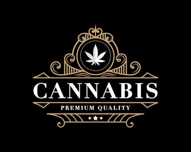 Logotipo de folha de cannabis vintage de luxo real antigo com moldura decorativa decorativa para marca de óleo de cânhamo