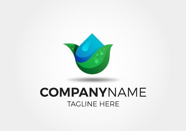Logotipo de folha de natureza água