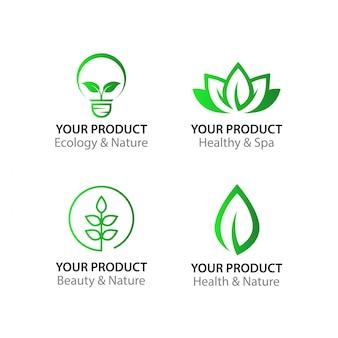 Logotipo de folha de natureza para a beleza