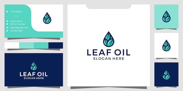 Logotipo de folha de oliva e azeite e design de cartão de visita