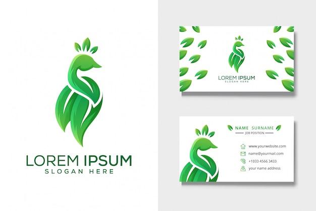 Logotipo de folha de pavão com modelo de cartão de visita