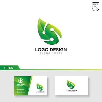 Logotipo de folha e tecnologia