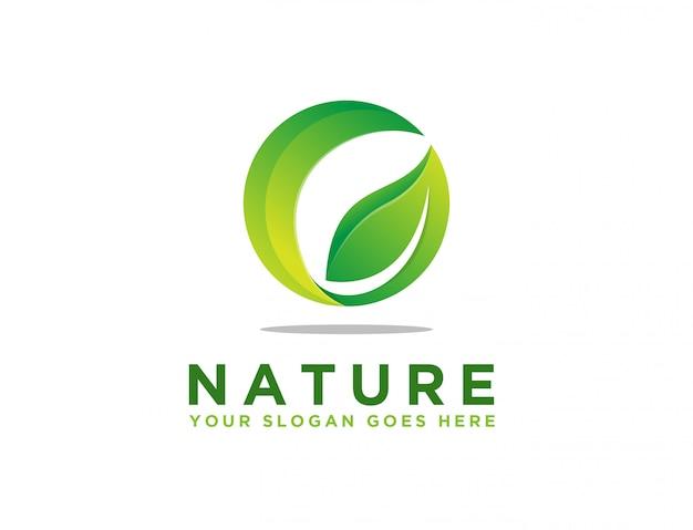 Logotipo de folha eco abstrato
