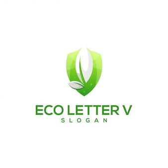 Logotipo de folha impressionante letra v