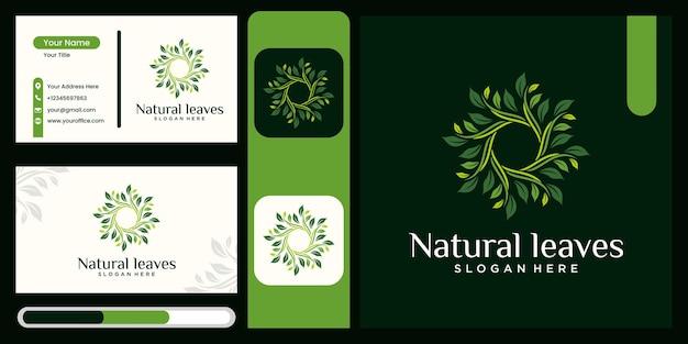 Logotipo de folha orgânica com conceito rotativo design de logotipo de folha de luxo ciclo rotativo gráfico vetorial